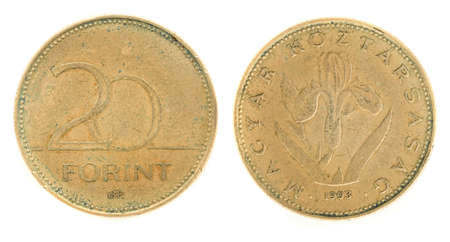 obverse: 20 Forint - hungarian money. Obverse and reverse