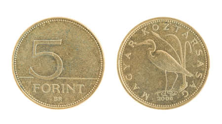 an obverse: 5 Forint - hungarian money. Obverse and reverse