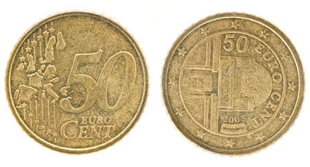 an obverse: 50 Euro cents- European Union money. Obverse and reverse