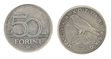 an obverse: 50 Forint - hungarian money. Obverse and reverse Stock Photo