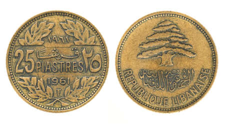 obverse: 25 piastres or piasters - money of Lebanon. Obverse and reverse