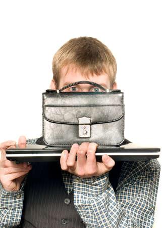 pochette: Hiding businessman peeps out through pochette Stock Photo