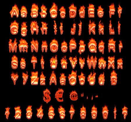Burning German alphabet with umlauts, symbols and numerals on black photo
