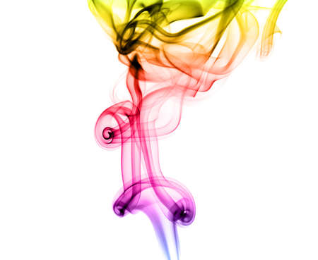 fume: Magic colorful fume abstract shapes  over white background
