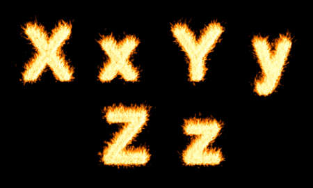 chr: Burning X, Y, Z character. Isolated on black. Other characters are in my portfolio