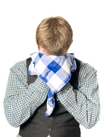 hanky: Depressed or sick man with handkerchief on white
