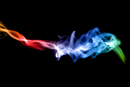 fume: Puff of colorful Abstract fume over the white