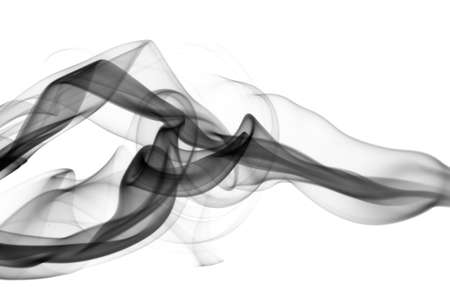 Black smoke Abstract waves over the white background Stock Photo