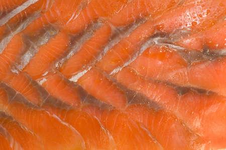 Tasty background. Sliced hunchback salmon photo