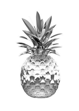 ananas: Chromed ananas with reflection isolated over white