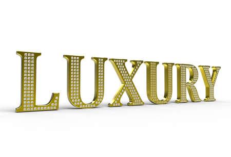 Golden Luxury word with diamonds over white background Stock Photo - 7161812