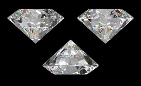 Three different side views of large diamond over black background Stock Photo - 7161811