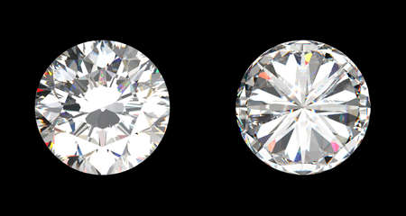 diamond stones: top and bottom view of large diamond over the black background Stock Photo
