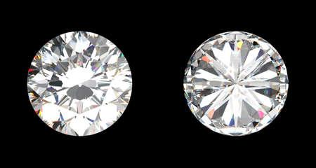 diamante negro: Vista superior e inferior del gran diamante sobre el fondo negro