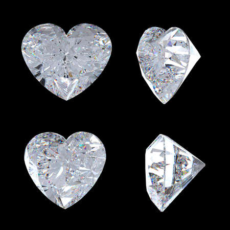 other side: Top and side views of heart shaped diamond. Over black, Extralarge resolution. Other gems are in my portfolio. Stock Photo