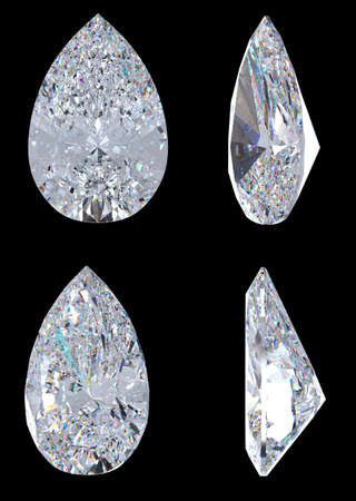 Top, bottom and side views of pear diamond. Over black, Extralarge resolution. Other gems are in my portfolio. photo