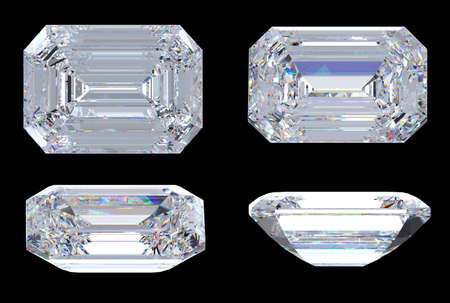 Top. bottom and side views of Emerald diamond. Over black, Extralarge resolution. Other gems are in my portfolio. photo