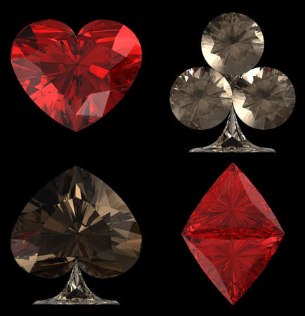 Colored Diamond shaped Card Suits over black background. Other gems are in my portfolio. photo
