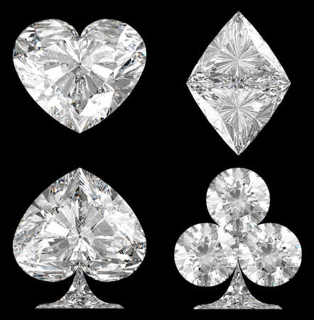 spade: Diamond shaped Card Suits over black background. Other gems are in my portfolio.  Stock Photo