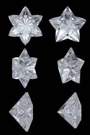 estrellas cinco puntas: Estrellas de diamantes de cinco puntas, seis puntos. Vistas de la parte superior, inferior y lateral. Sobre negro. Resoluci�n extralargos. Otras gemas son en mi cartera.