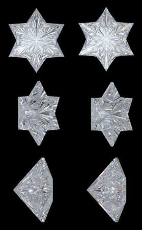 hexagram: Star of David or hexagram Diamond. top, bottom and side views. Over black. Extralarge resolution. Other gems are in my portfolio. Stock Photo