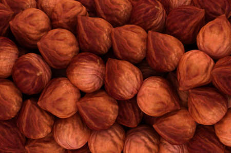 Hazel nuts texture or background. CG render photo