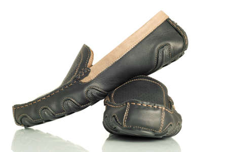 moccasins: Modern black mens shoes moccasins over white Stock Photo