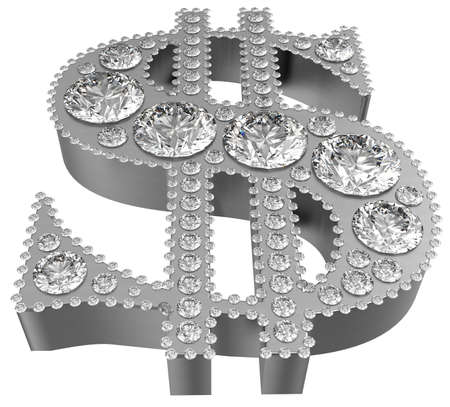 diamonds isolated: Silver 3D Dollar symbol incrusted with diamonds isolated over white. Extralarge resolution. Other gems are in my portfolio.