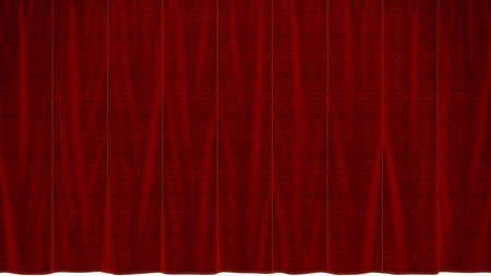 Dropped Red Curtain with beautiful textile pattern. Extralarge resolution, over white photo