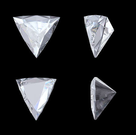 trillion: Top, bottom and side views of trillion diamond. Over black. Extralarge resolution. Other gems are in my portfolio.