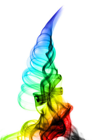 fume: Abstract colored fume swirl over the white background