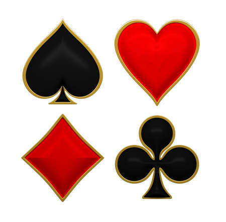 poker cards: Card suits with golden framing. Isolated on white