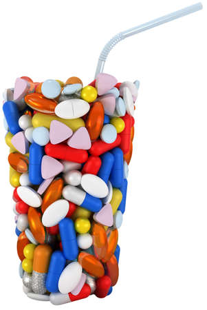 Glass shape assembled of pills with straw. Extralarge resolution. over white Stock Photo - 7494792