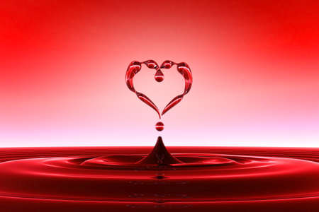Heart shaped red water drops and splashing with waves. FAQ concept. Extralarge resolution