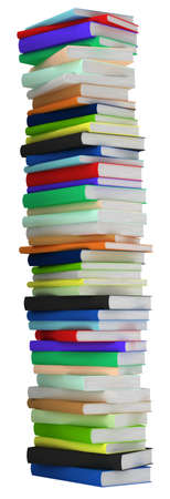 Education and wisdom. Tall heap of hardcovered books isolated over white. Extralarge resolution photo