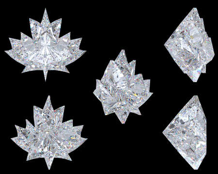 Top, bottom and side views of maple leaf diamond. Over black, Extralarge resolution. Other gems are in my portfolio photo