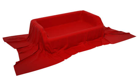 Showcase pedestal covered with red cloth. Extralarge resolution Stock Photo - 7494820