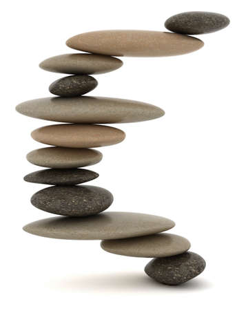 stability: Stability and Zen. Extralarge resolution. Balanced stone tower over white Stock Photo