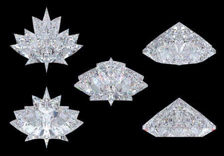 Top, bottom and side views of maple leaf diamond. Over black, Extralarge resolution. Other gems are in my portfolio. photo