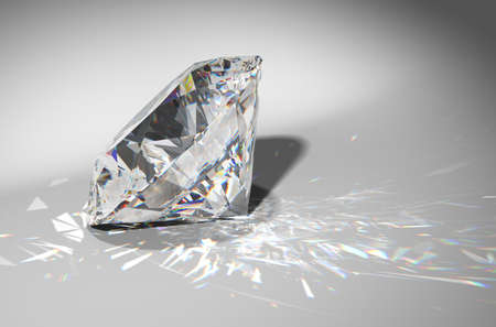 One large diamond with sparkles over gradient background Stock Photo
