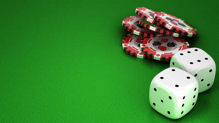 Casino or roulette chips and dies over green textured background. Extralarge res. Other leisure stuff is in my portfolio