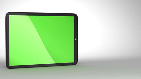 Close-up of slim Tablet PC with green colored screen. Free space for text. Extralarge resolution. Stock Photo - 7694225
