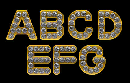 Golden A, B, C, D, E, F, G letters incrusted with diamonds. Other  character are in my portfolio photo