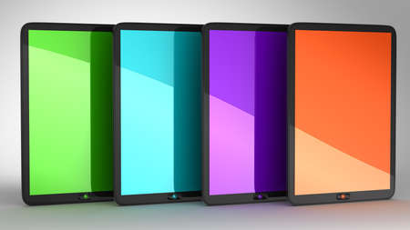 Group of four Tablets PCs with colored displays. Extralarge resolution Stock Photo - 7694232