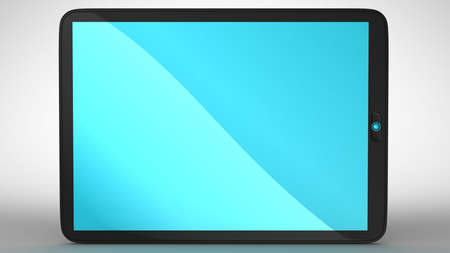 digitized: Horizontal view of modern Tablet PC with blue colored screen. Extralarge resolution. Stock Photo