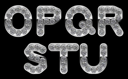 Silver O, P, R, S, T, Q, U letters incrusted with diamonds. Other characters are in my portfolio photo