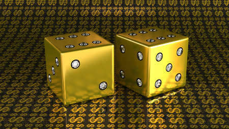 Two golden dies with diamonds over US dollar background. Large resolution photo