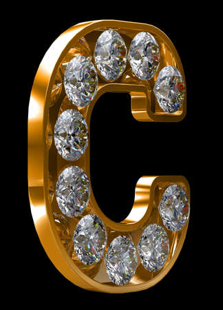 Golden C letter incrusted with diamonds.  photo