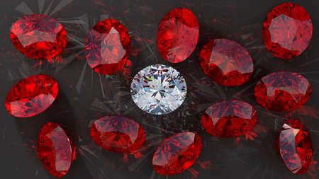 Crystal diamond among red rubies on smooth surface.  photo