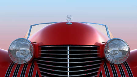 engine bonnet: Front view of red retro car over blue sky background Stock Photo